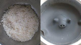 米はざるに上げて給水しよう
